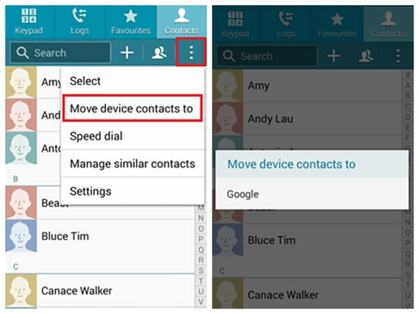 Backup Contacts from Sony Xperia