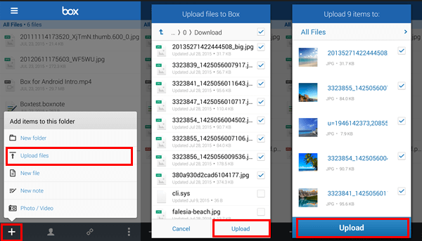 Transfer on Android Pictures with Box