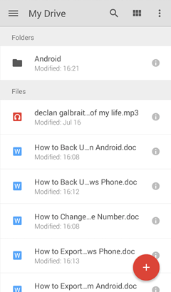 Uploaded Contents on Android Google Drive