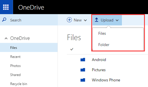 Set to Upload on OneDrive