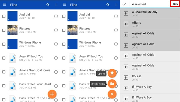 Upload Audios from OneDrive Android