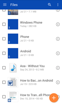 Uploaded Files on Android OneDrive