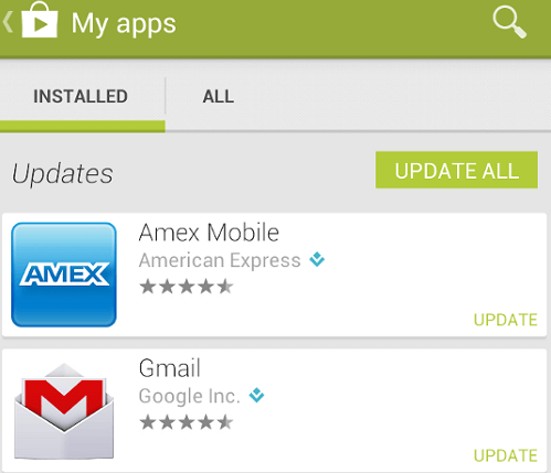 Update Apps in Google Play Store