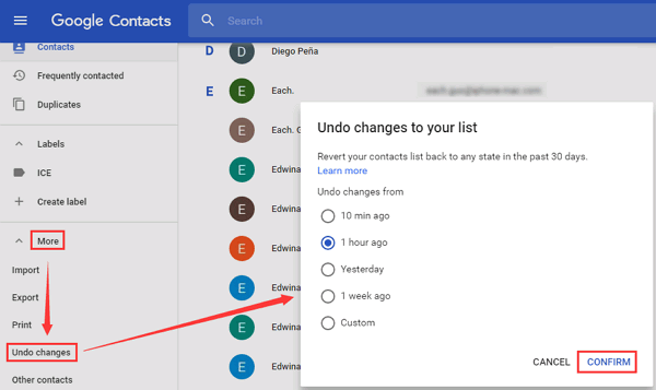 Google Contacts Revert