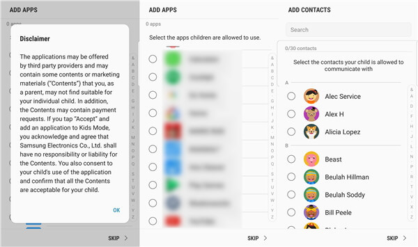 Kids Mode Apps Contacts