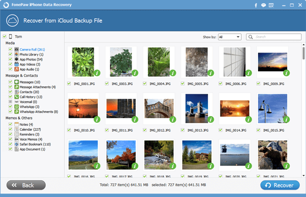 Regain photos from iCloud Backup