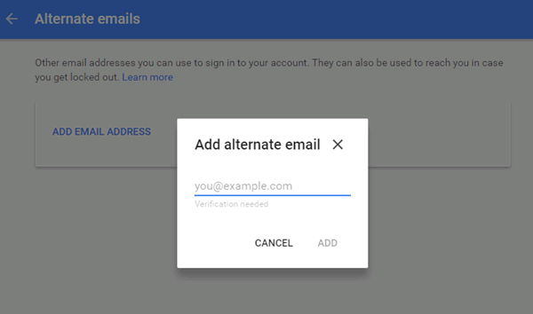 Change My Email Address in Google Account