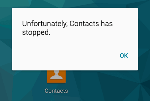 Contacts Has Stopped