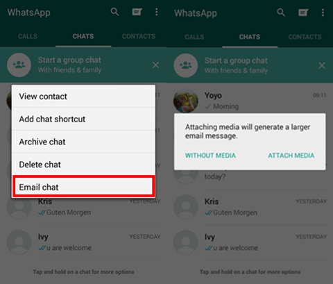 Backup WhatsApp via E-mail