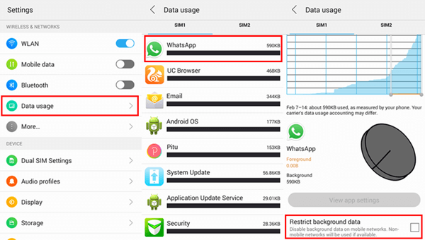 Restrict Background Data of WhatsApp