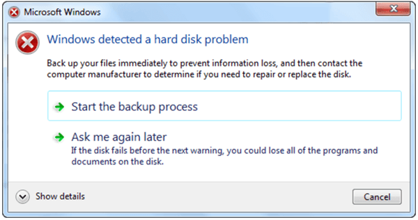 Windows Detected A Hard Disk Problem