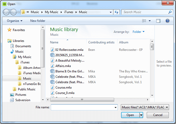 Select Music from PC
